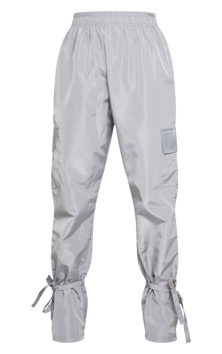 Grey Shell Tie Ankle Cargo Jogger 5