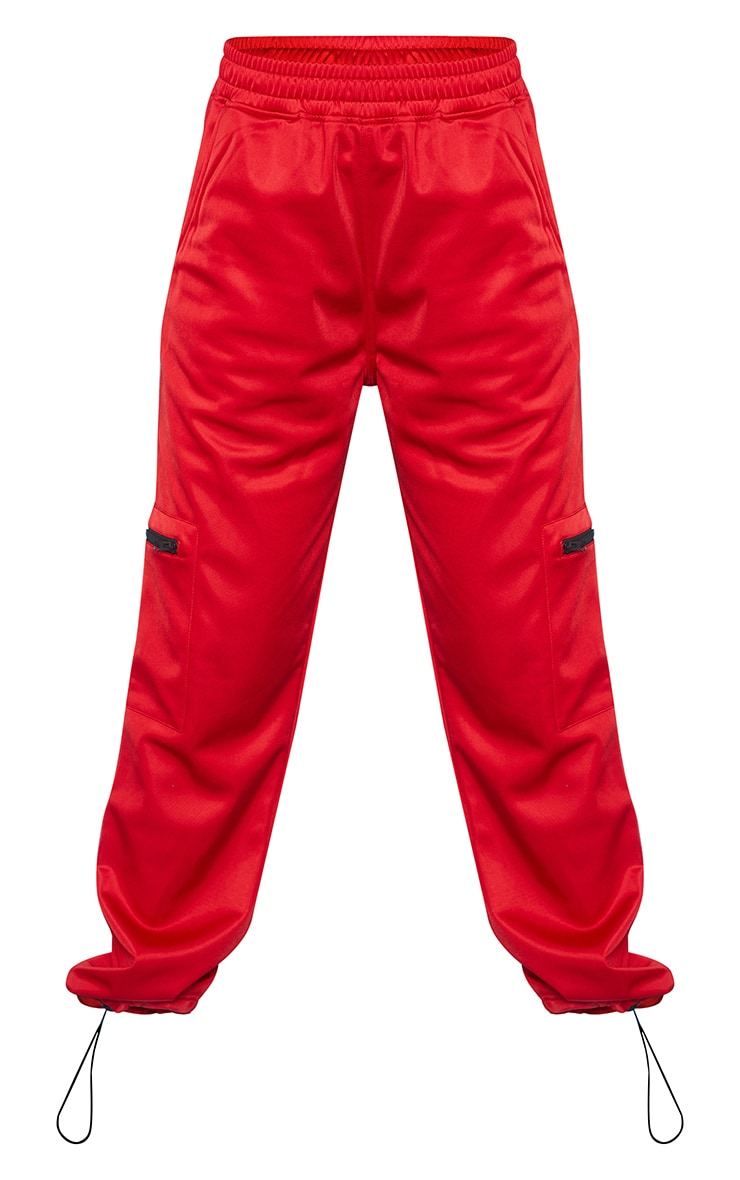 Red Zip Pocket Detail Joggers 6