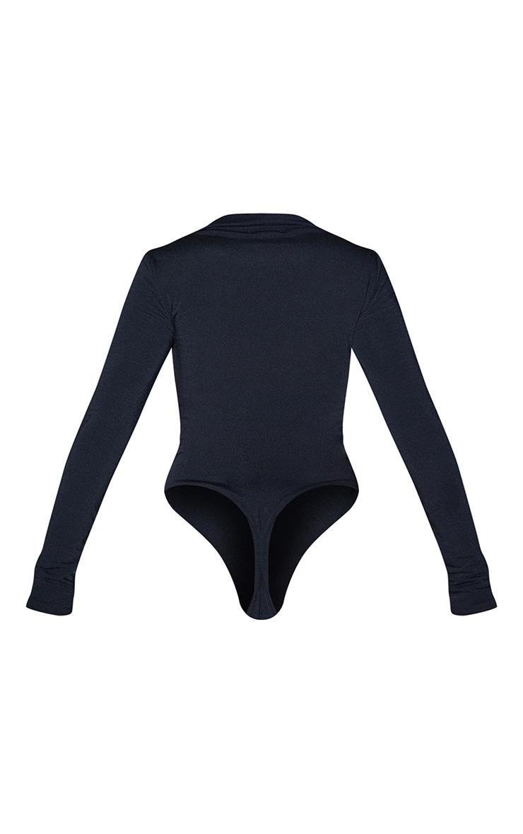 PLT Recycle - Body en jersey noir froncé devant à manches longues 6