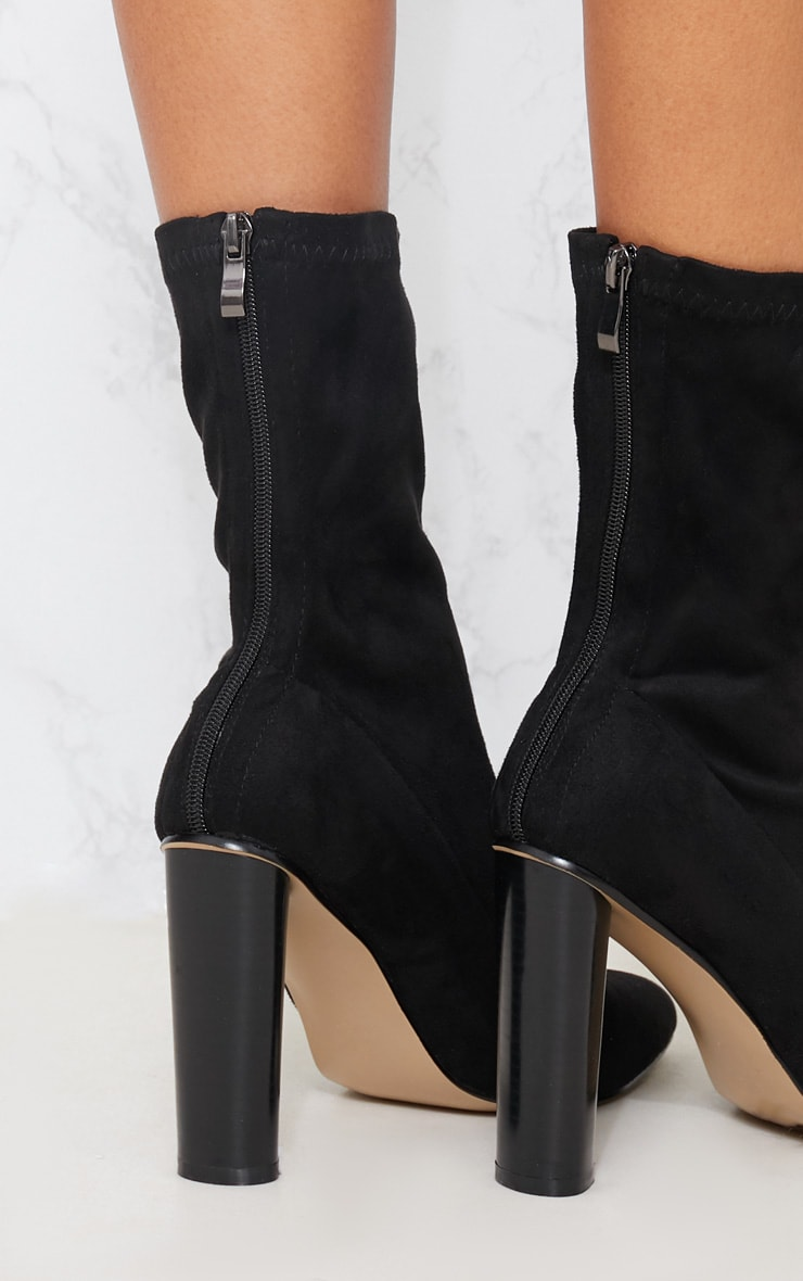 Black Faux Suede Sock Boot 5