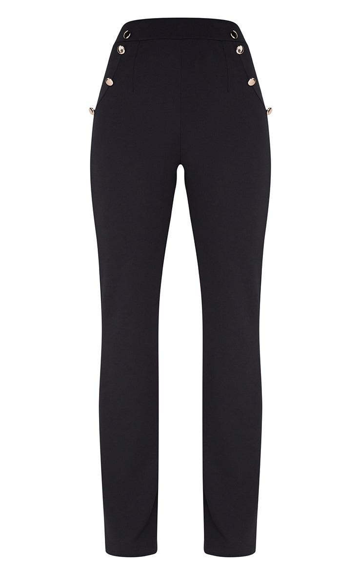 Black Military High Waist Button Wide Leg Trousers 3