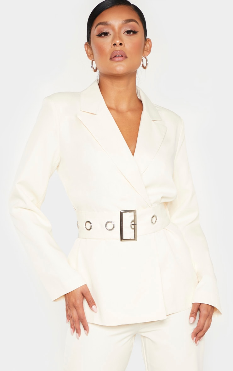 Cream Buckle Detail Belted Woven Blazer    1