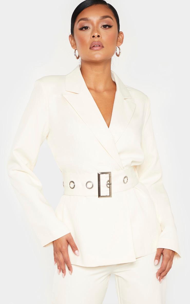 Cream Buckle Detail Belted Woven Blazer