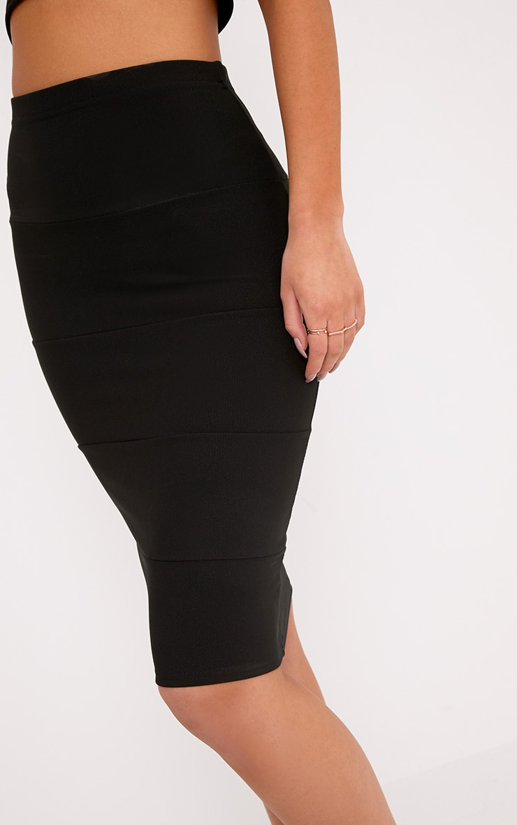 Lindy Black Bandage Panelled Midi Skirt 5