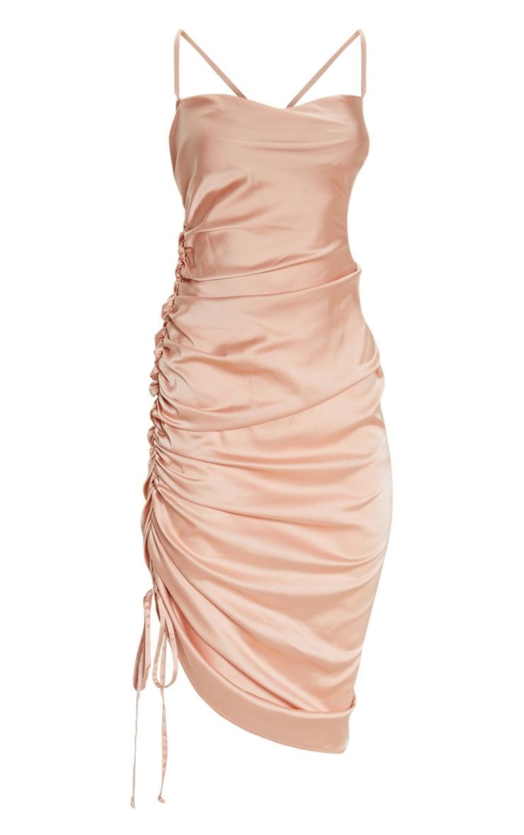 Peach Satin Ruched Seam Midi Dress 3