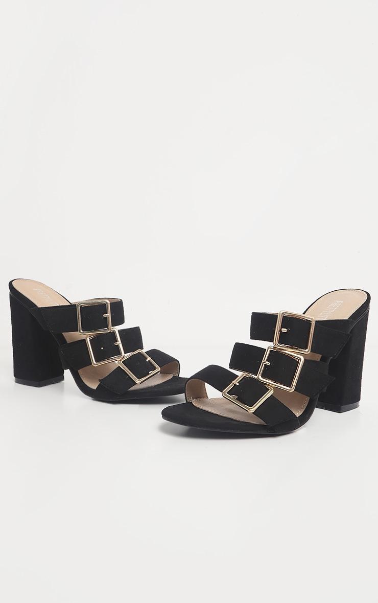 Black Triple Strap Buckle Mule Sandal 3