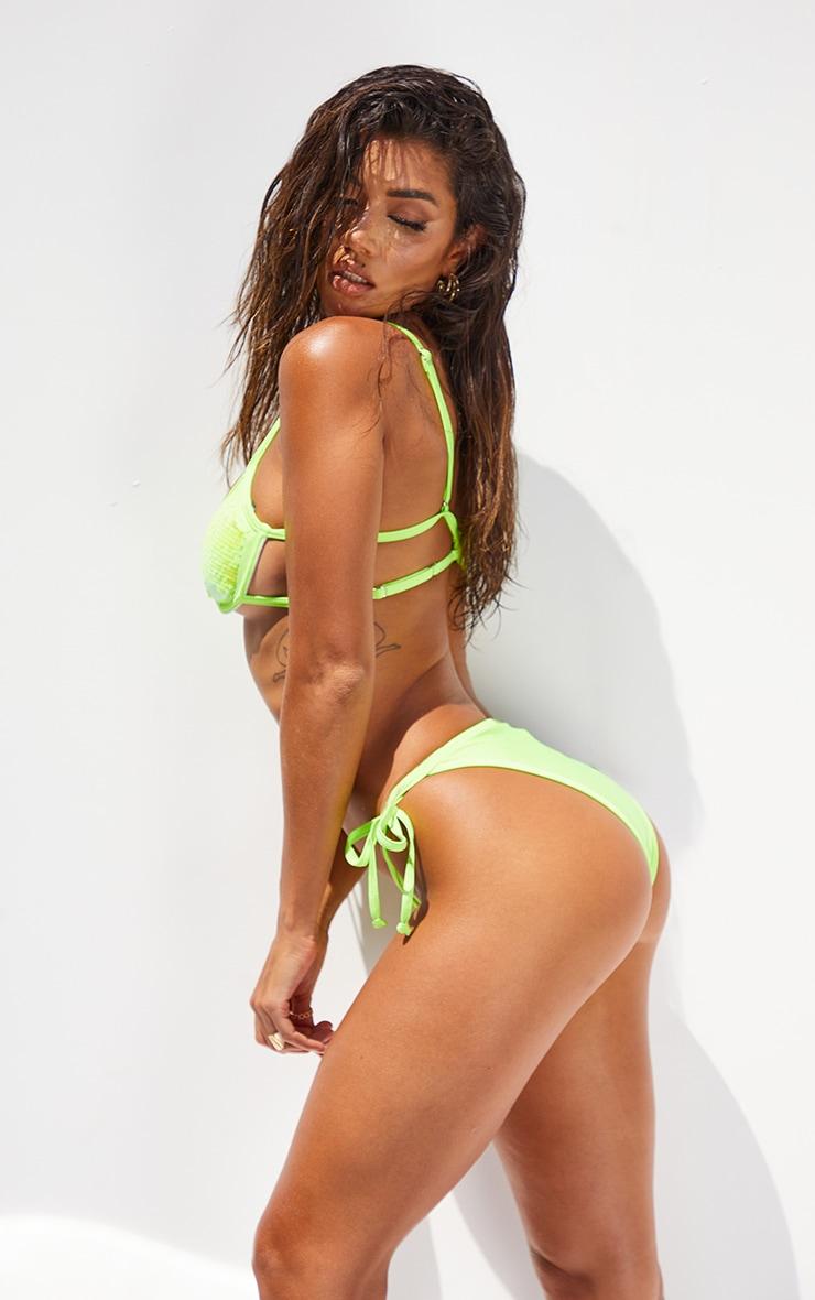 Lime Sequin Tie Side Bikini Bottoms 2