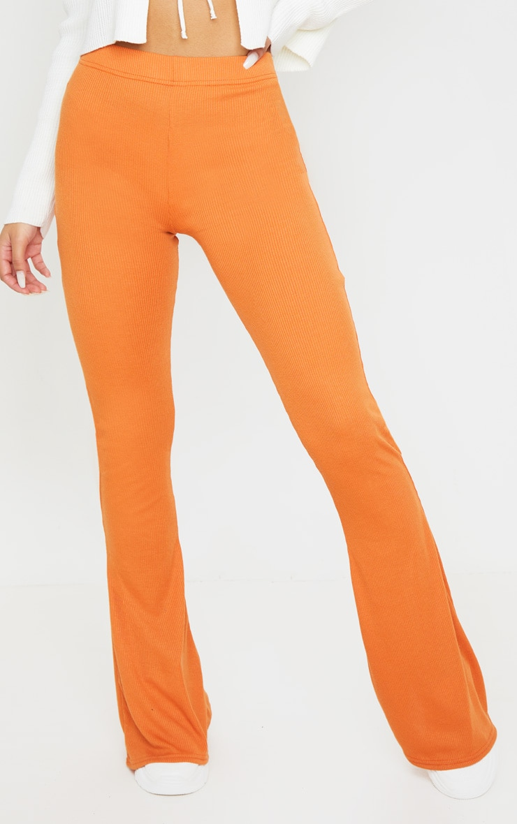 Burnt Orange Ribbed Flared Pants 2
