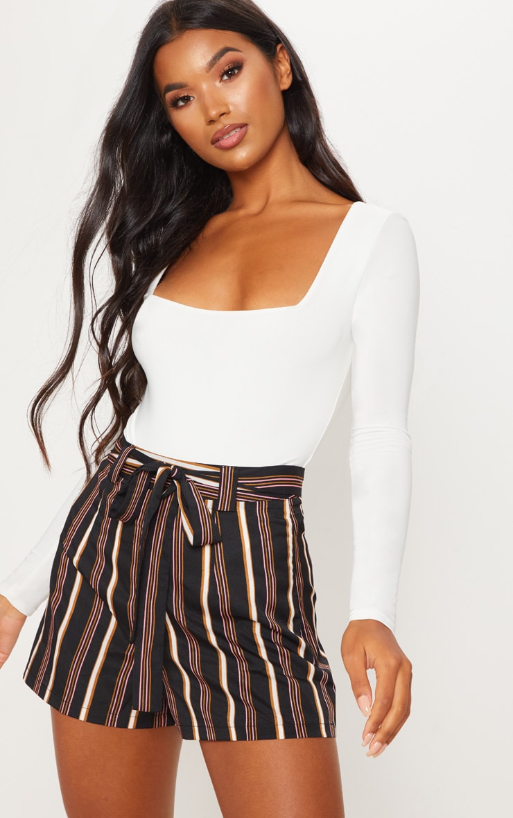 Rust Stripe Tie Waist Short