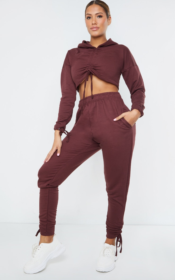Shape Chocolate Brown Ruched Front Cropped Hoodie 3