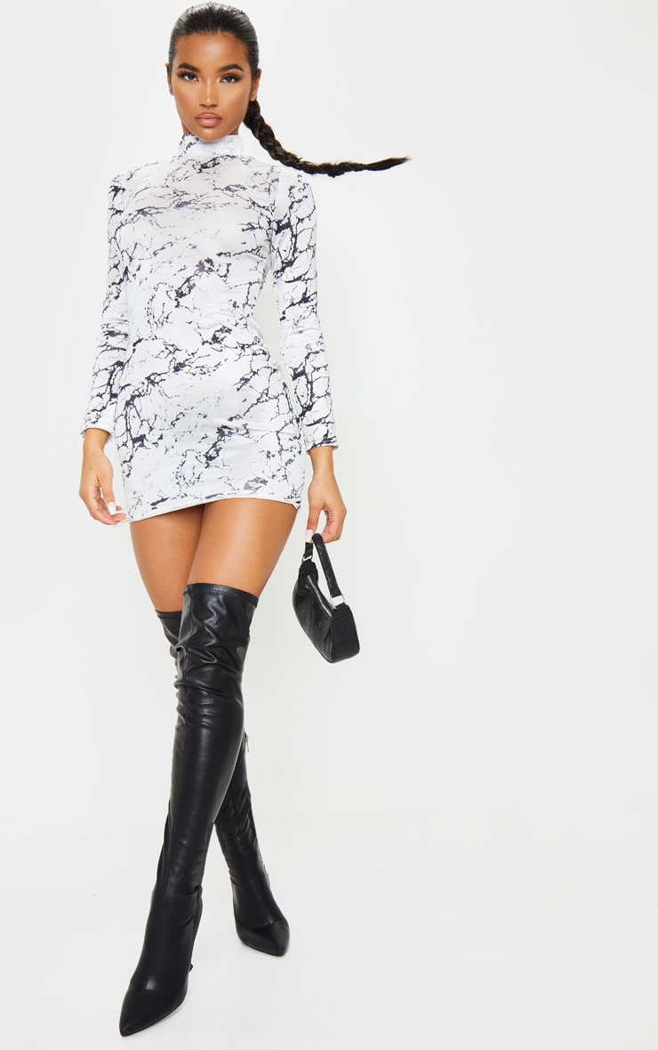 White Marble Print Slinky High Neck Long Sleeve Bodycon Dress 3