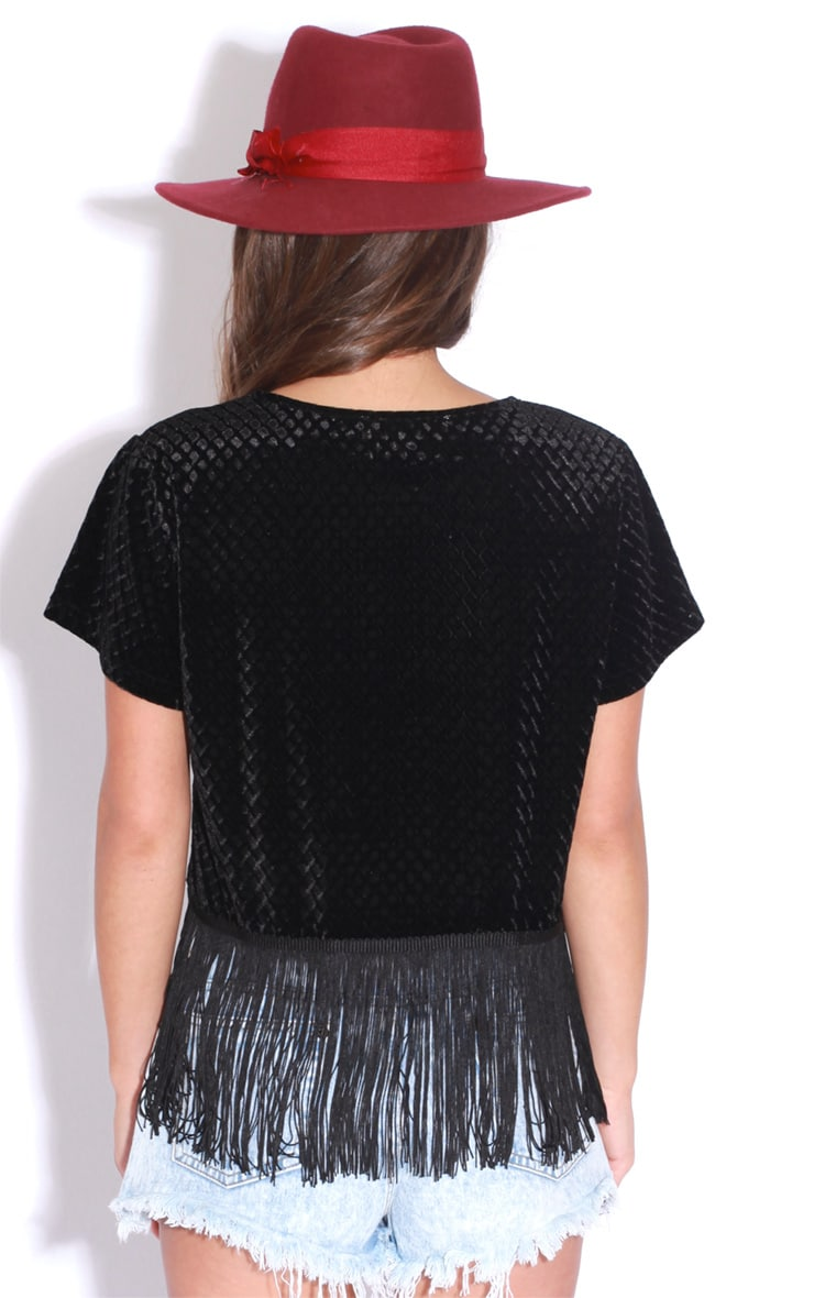 Bianca Black Tassel Velvet Crop Top 2