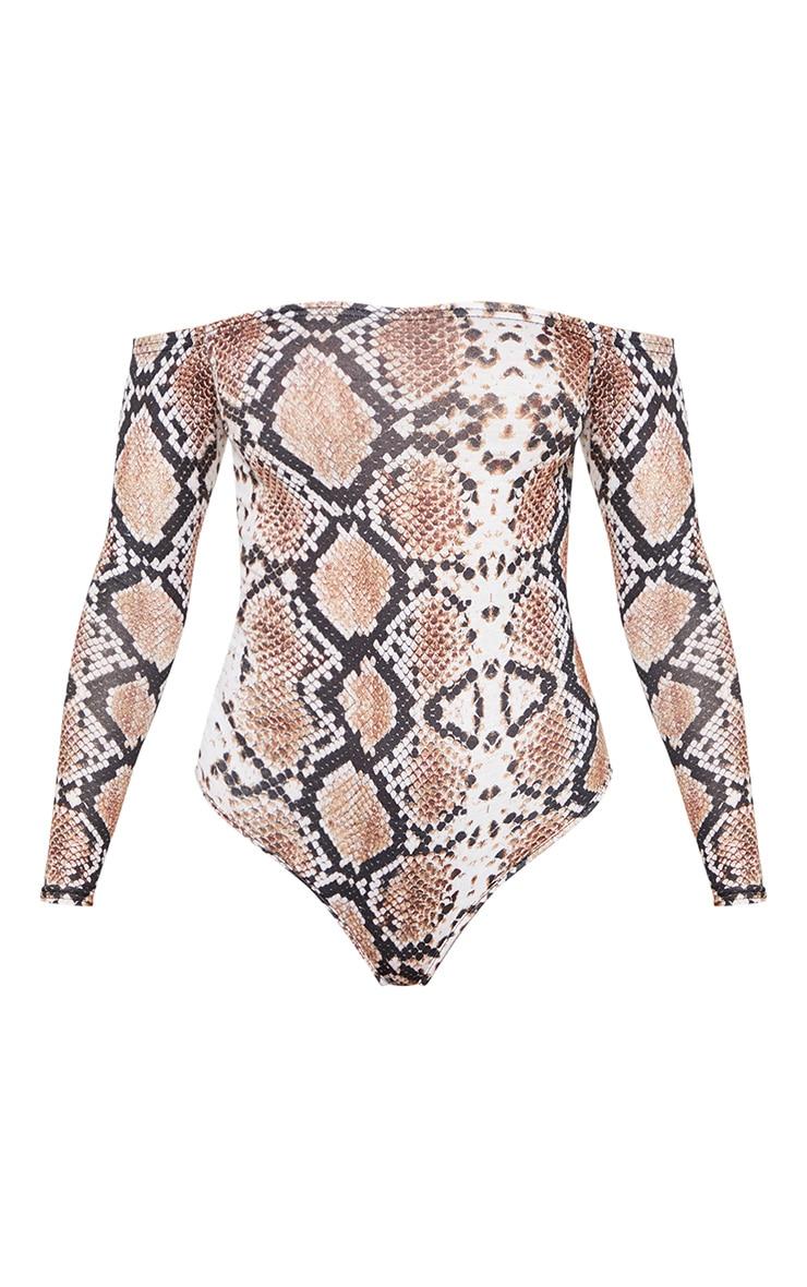 Adhria White Snake Print Bardot Thong Bodysuit 3