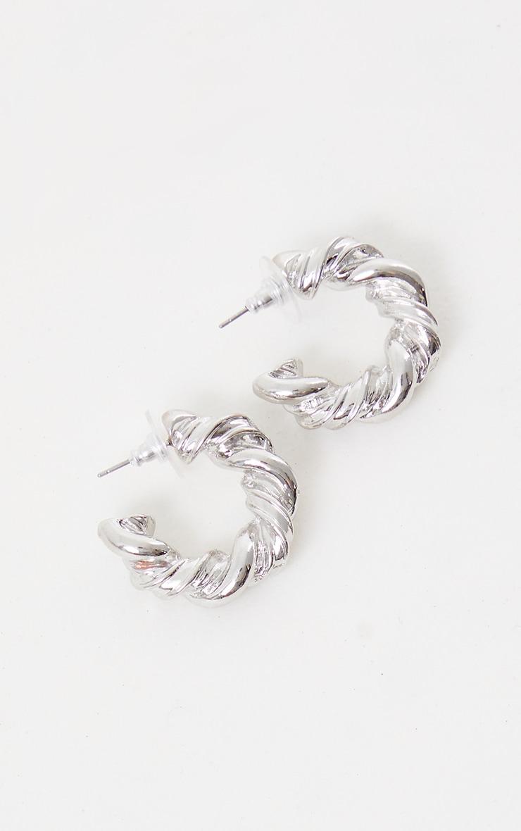 Silver Chunky Rope Twist Hoop Earrings 1