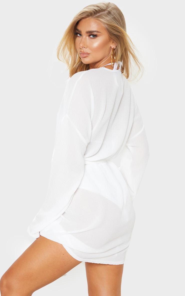 White Crinkle Textured Short Beach Kimono 2