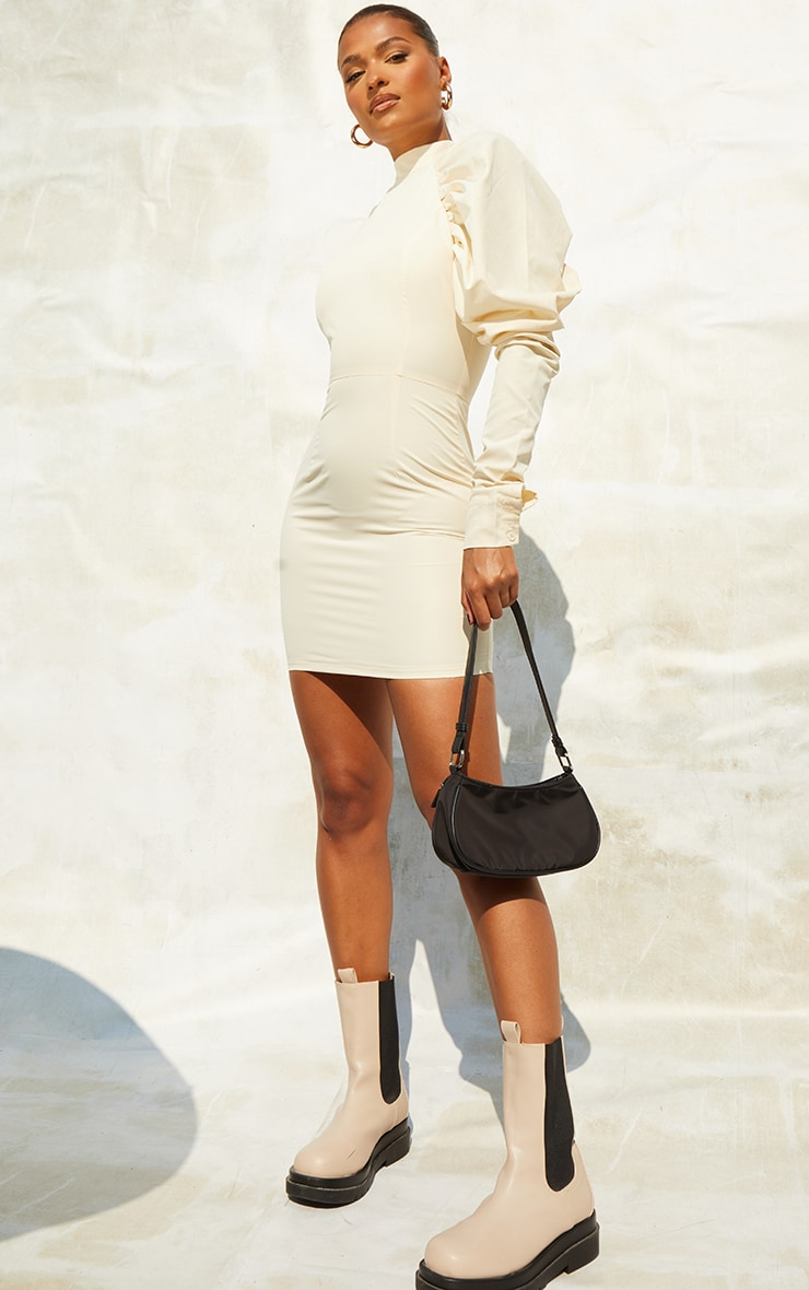 Cream  Woven Ruched Puff Sleeve High Neck Bodycon Dress 1