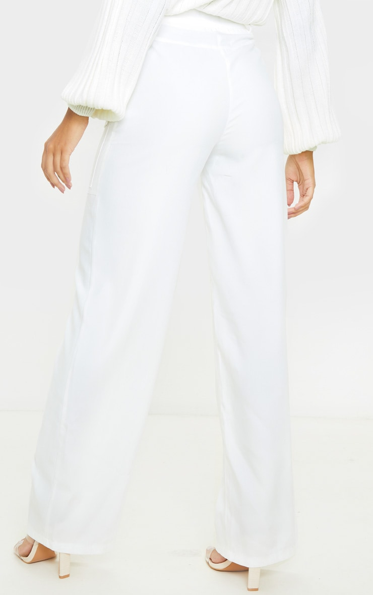 Cream Straight Leg Pocket Pants 4