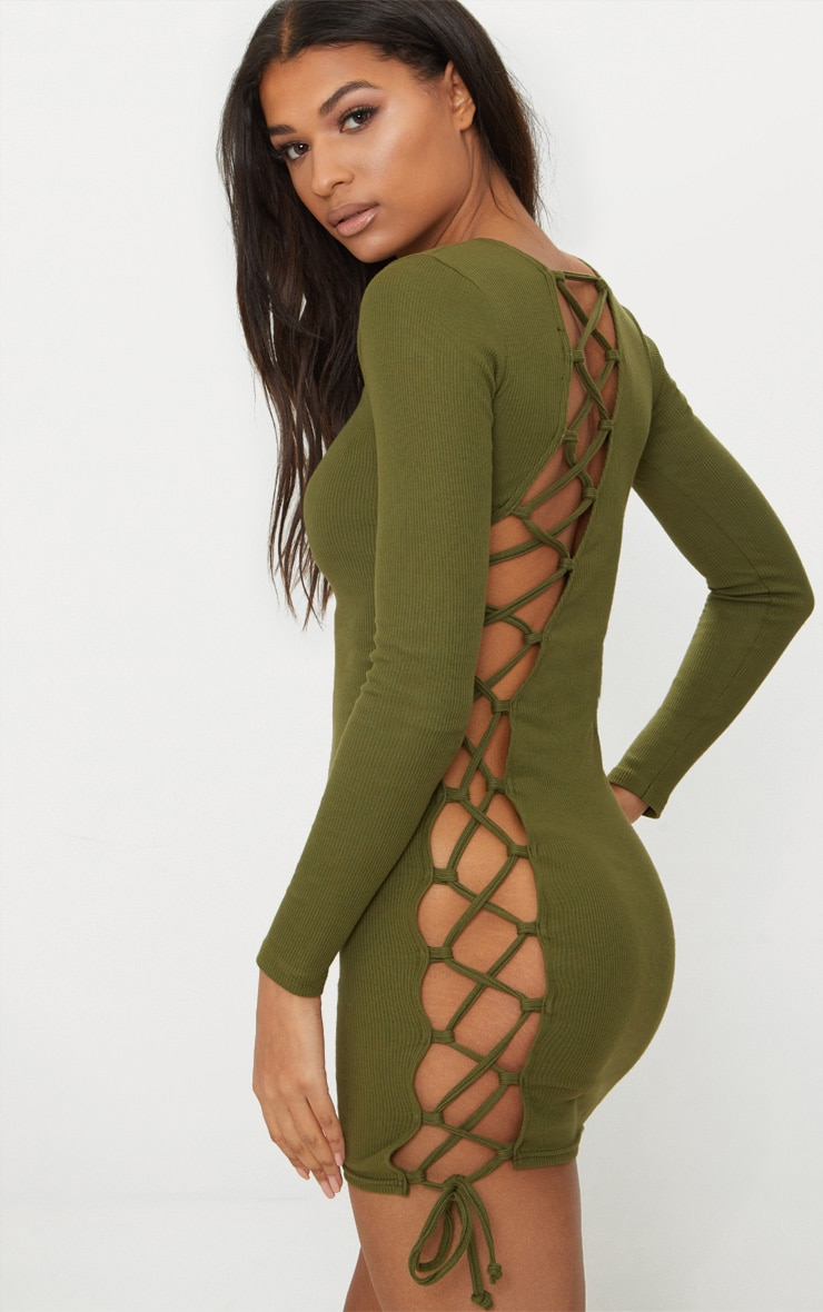 Olive Rib Long Sleeve Lace Up Back Bodycon Dress 1