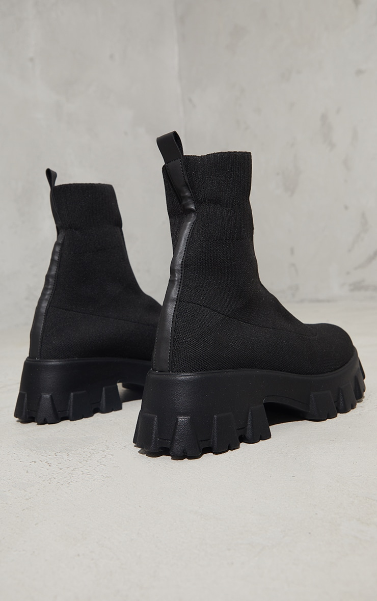 Black Knitted Sock Ankle Boots 4