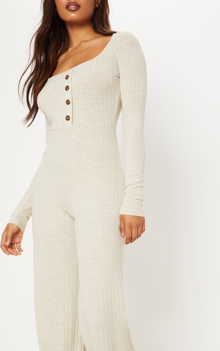 Tall Stone Ribbed Tortoise Button Jumpsuit 5