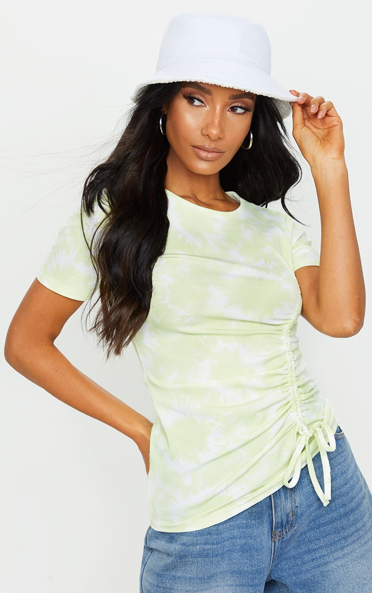 Lime Green Acid Wash Rib Ruched Side T Shirt 3