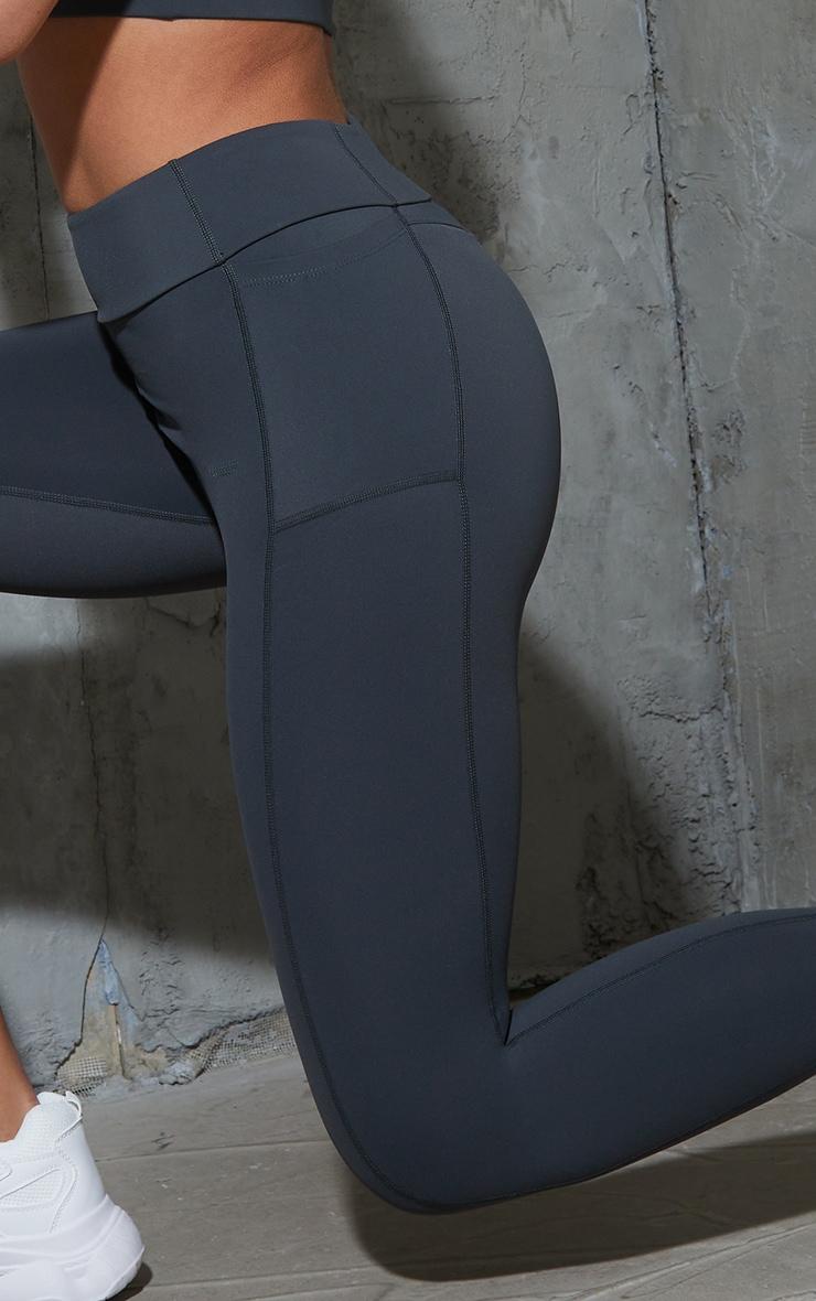 Charcoal Super High Waist Pocket Detail Gym Leggings 4