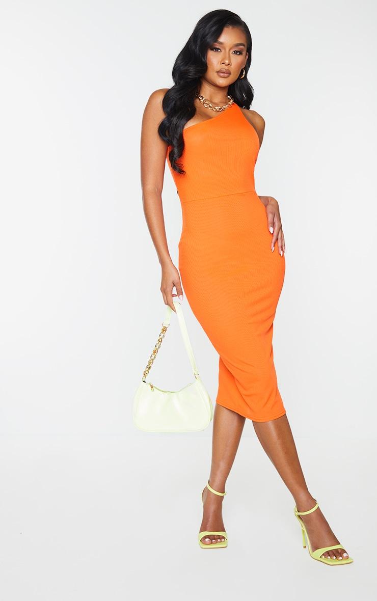 Orange Ribbed One Shoulder Cut Out Back Detail Midi Dress 2