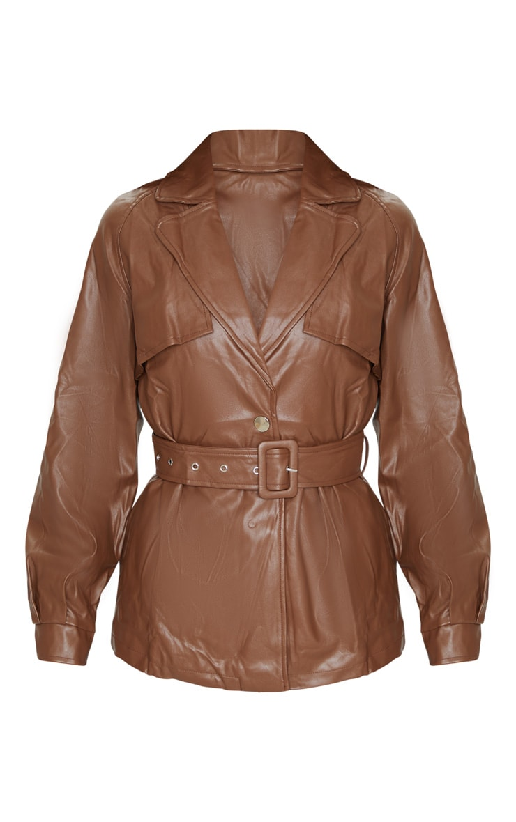 Chocolate Pu Trenched Panelled Belted Blazer 5
