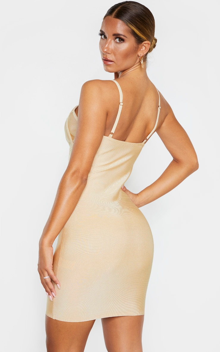 Nude Strappy Cut Out Cup Detail Bandage Bodycon Dress 2