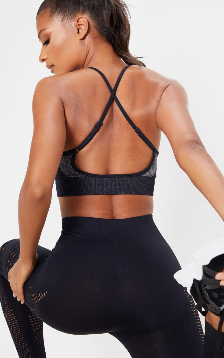 Black Seamless Long Line Sports Bra Top 5