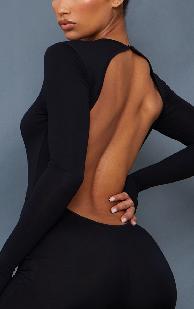 Black Thumbhole Open Back Jersey Jumpsuit 4