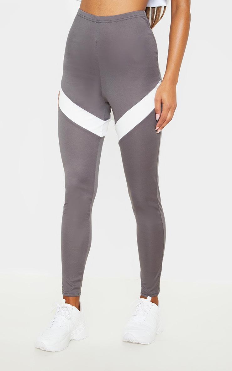 Grey Contrast Panel Leggings 2