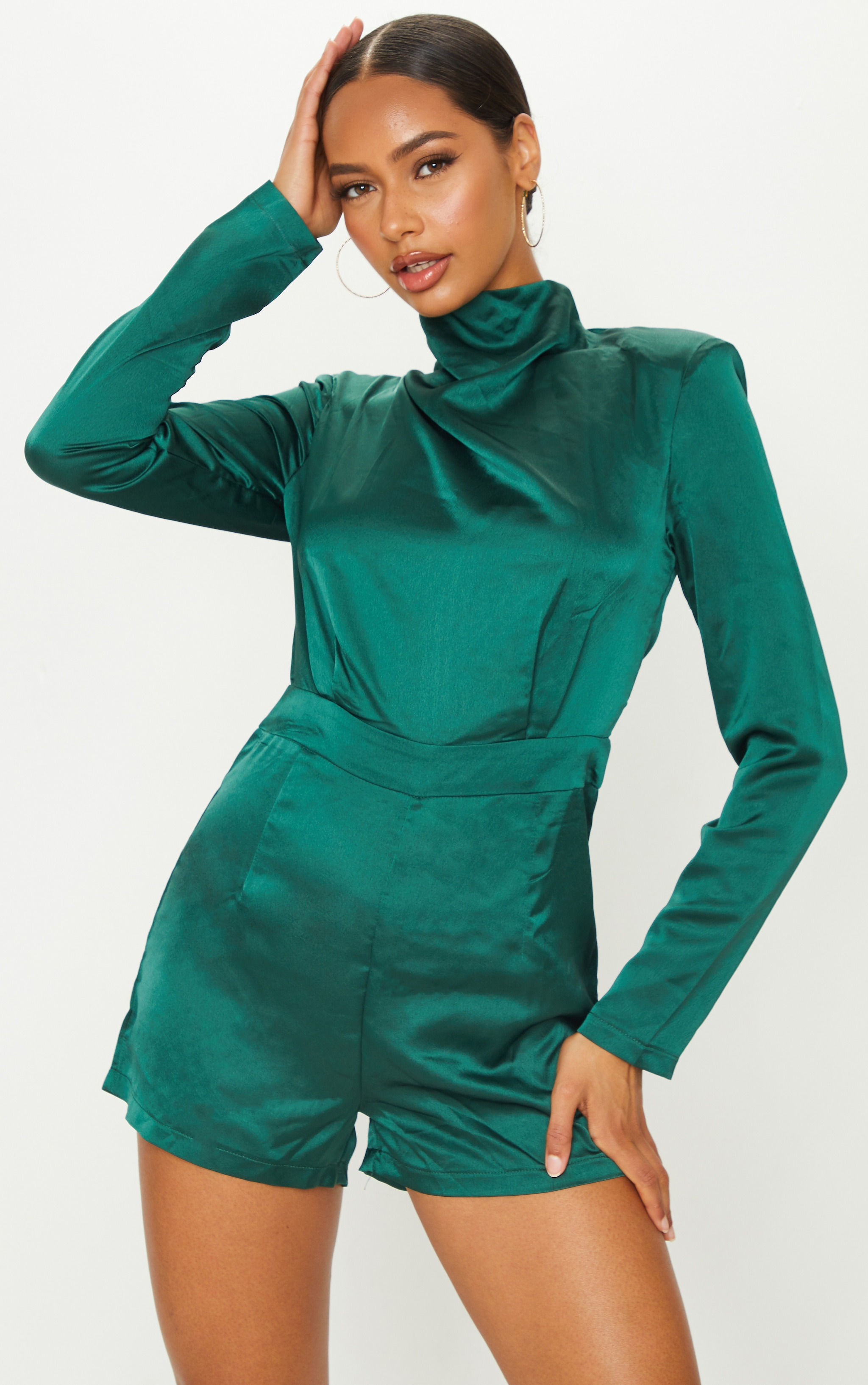 Emerald Green Draped Neck Shoulder Pad Playsuit 1