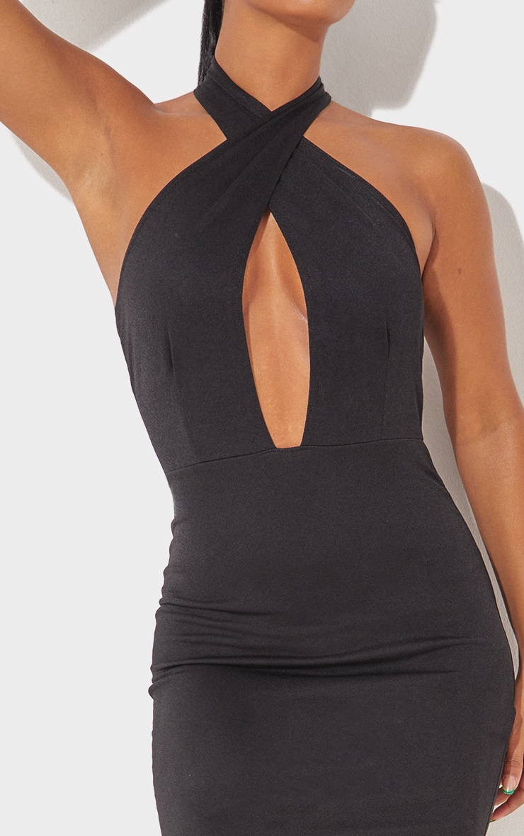 Black Cross Neck Bodycon Dress 5