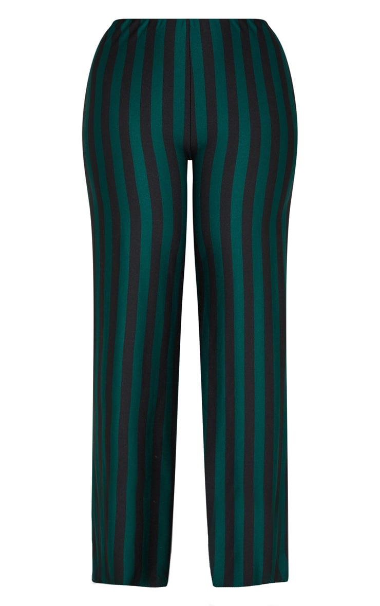 Plus Emerald Green High Waisted Crepe Stripe Wide Leg Pants 3