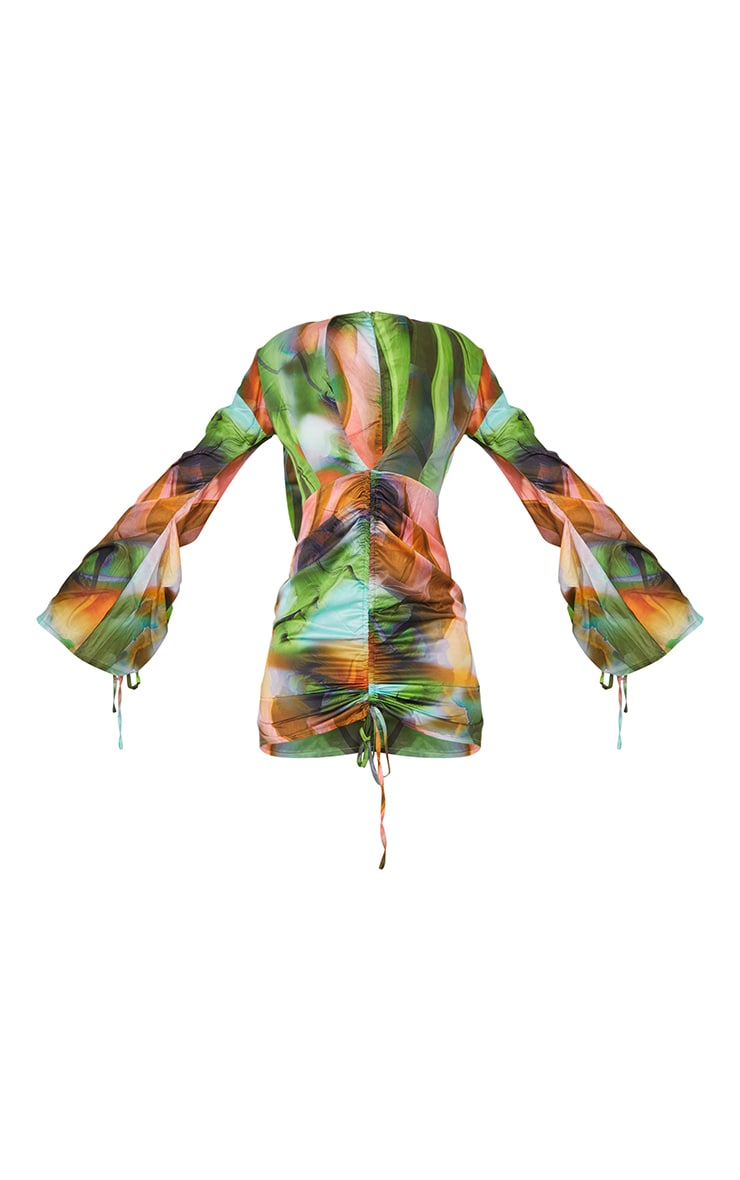 Green Abstract Print Satin Plunge Ruched Front Dress 5