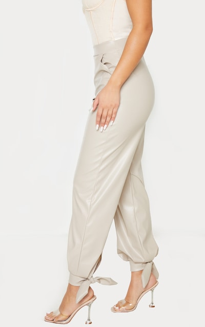 Stone Faux Leather Tie Ankle Trouser