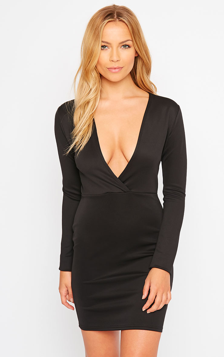 Cici Black Scuba Plunge Neck Dress 1