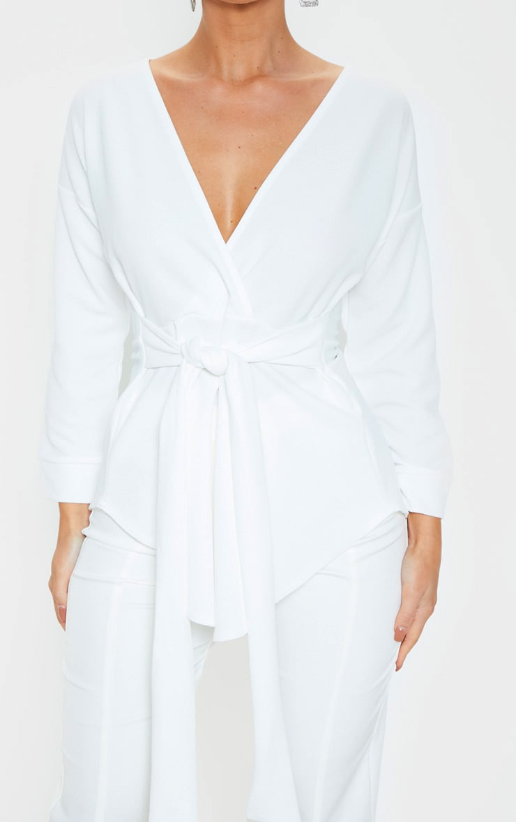 White Tie Waist Blouse 5