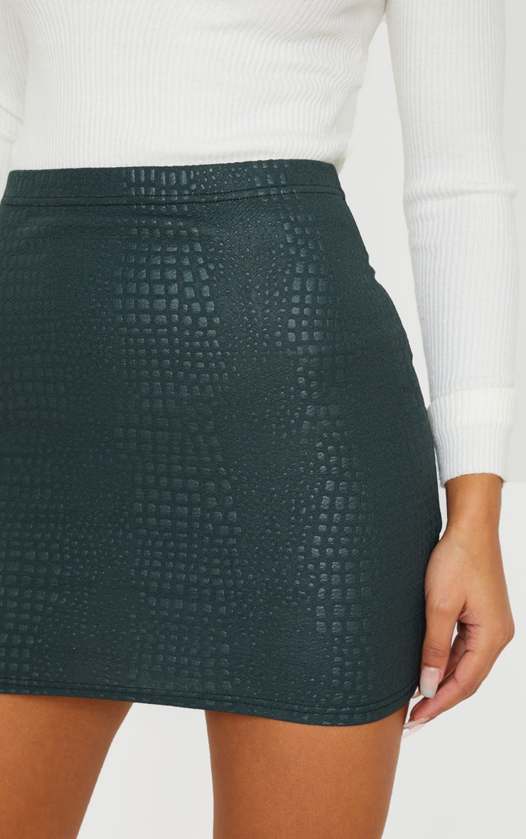 Green Croc Print Bodycon Mini Skirt 6