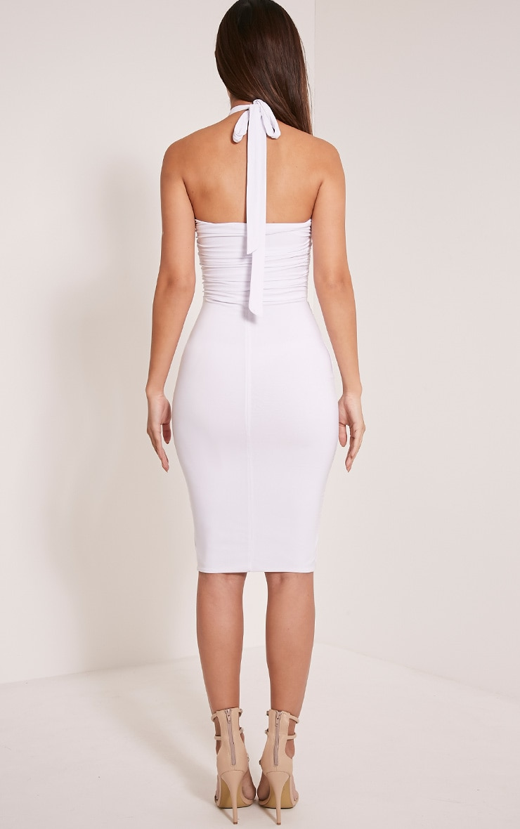 Meeka White Ruched Halterneck Cut Out Midi Dress 2