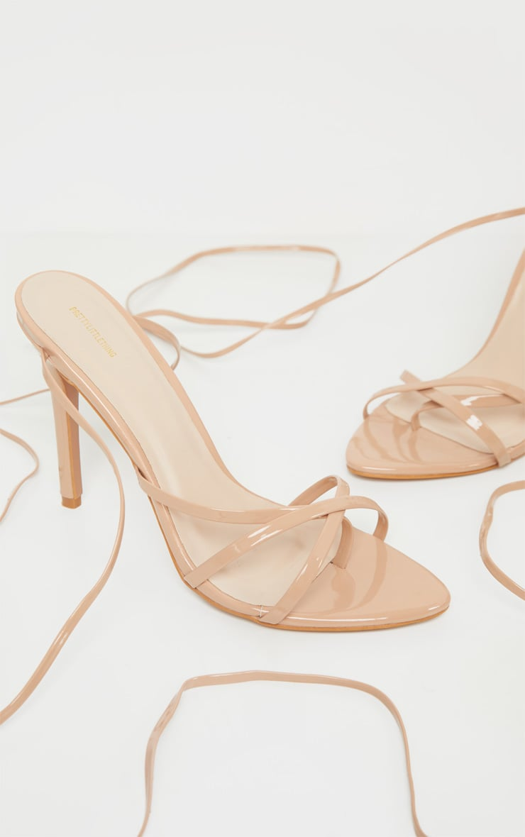 Nude Point Toe Thong Strappy High Heel Sandal 3