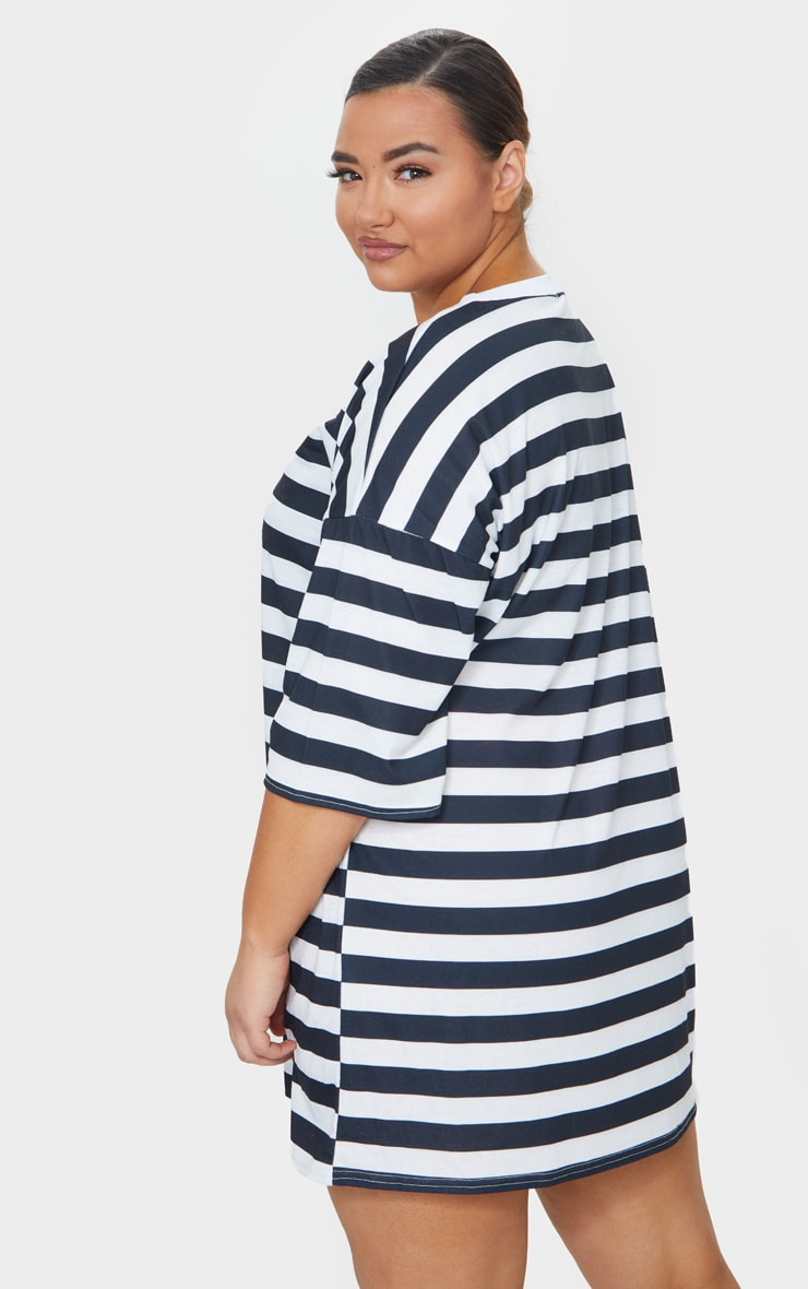 Plus Black Contrast Stripe Oversized Boyfriend T Shirt Dress 2