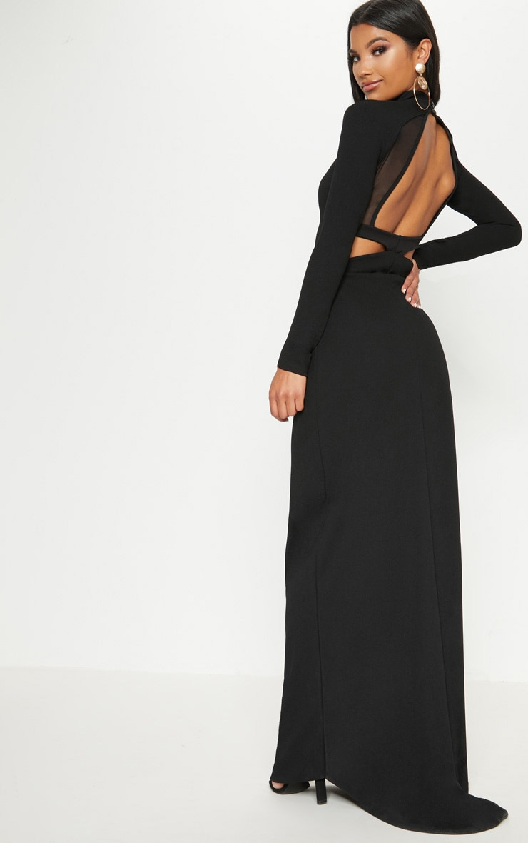 Black Mesh Cut Out Back Detail Maxi Dress 1