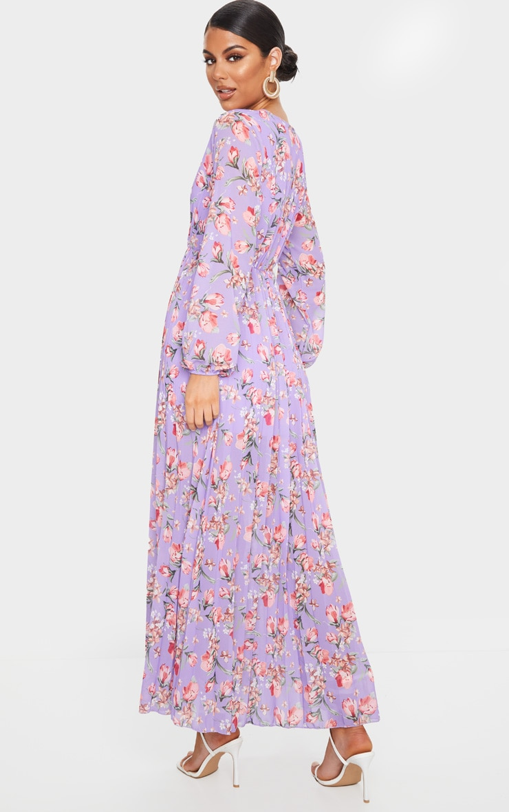 Lilac Floral Long Sleeve Pleated Maxi Dress 2