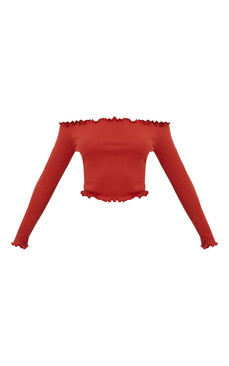 Burnt Orange Frill Edge Crop Top 3