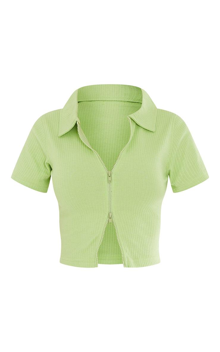 Lime Short Sleeve Jumbo Rib Polo Collar Double Zip Top 5