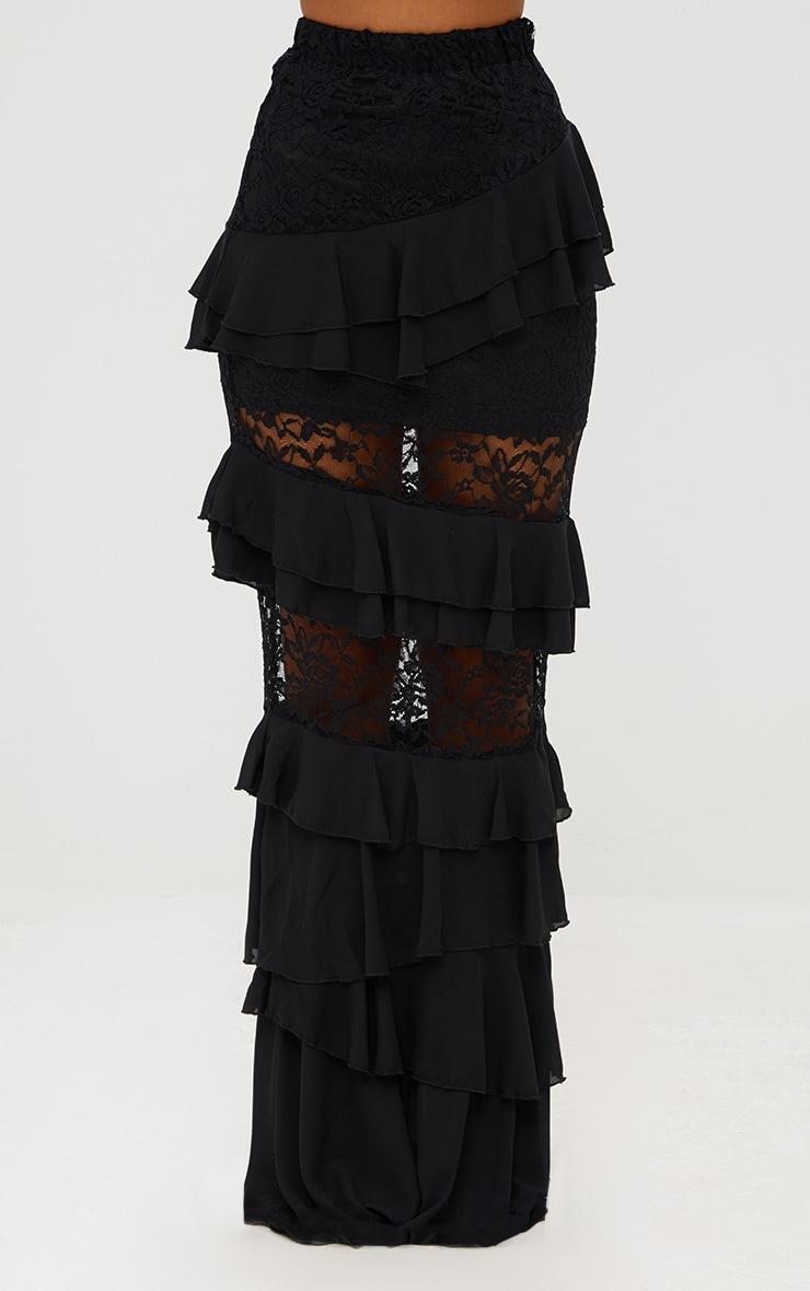 Black Lace Frill Detail Maxi Skirt 2