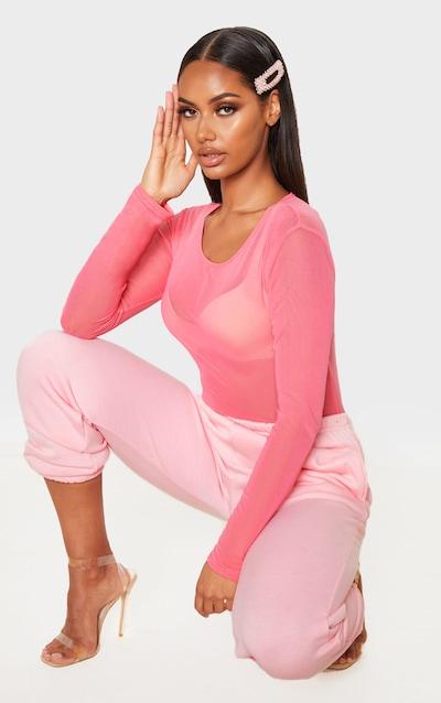 Pink Mesh Crew Neck Long Sleeve Thong Bodysuit
