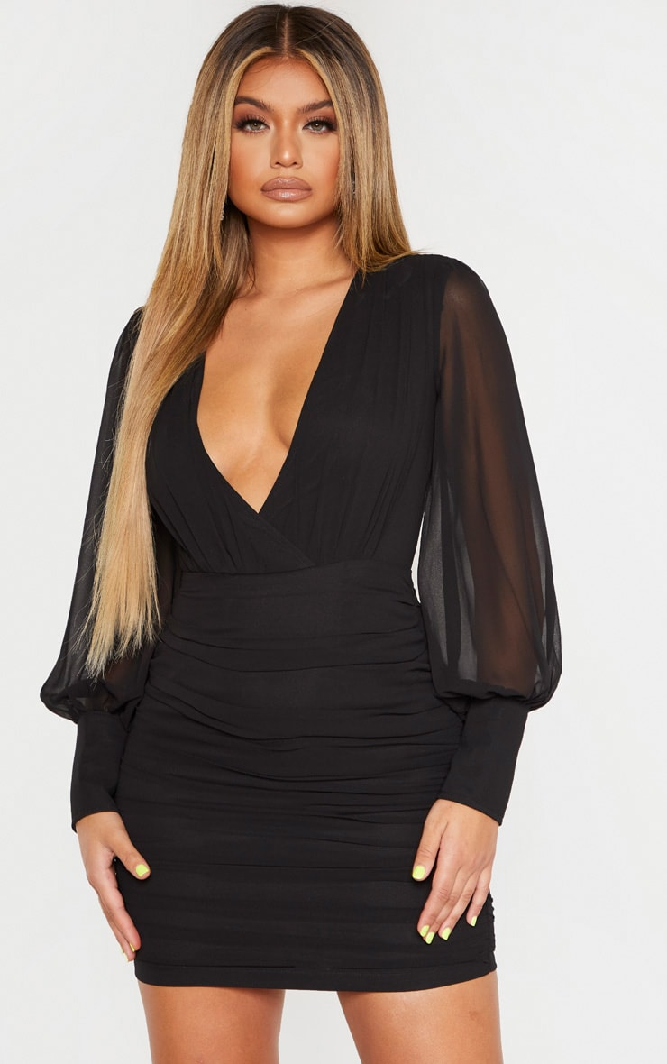 Black Long Sleeve Chiffon Ruched Bodycon Dress 1